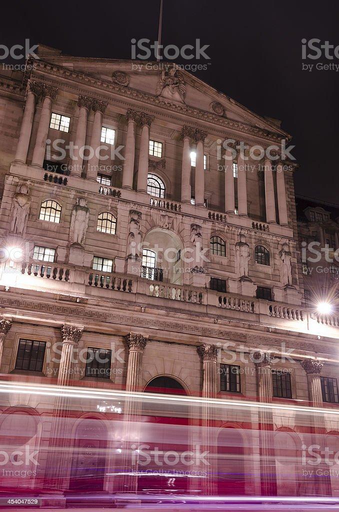 Bank of England at night, London stock photo