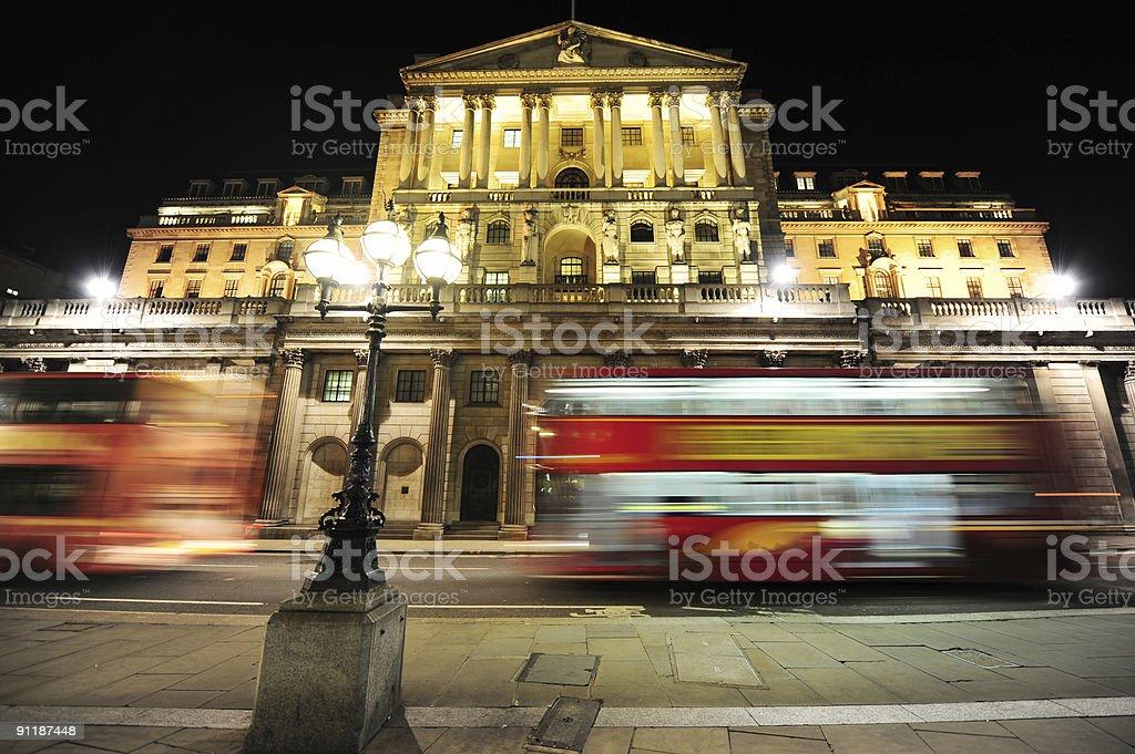 Bank of England at night stock photo