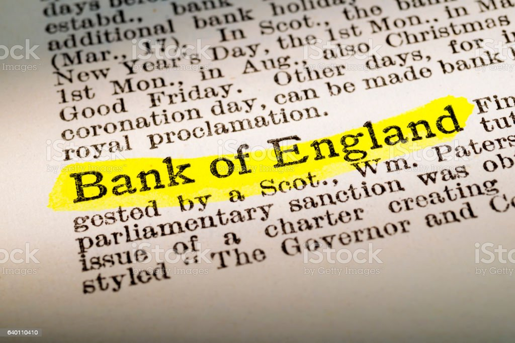 Bank Of England - dictionary definition highlighted stock photo