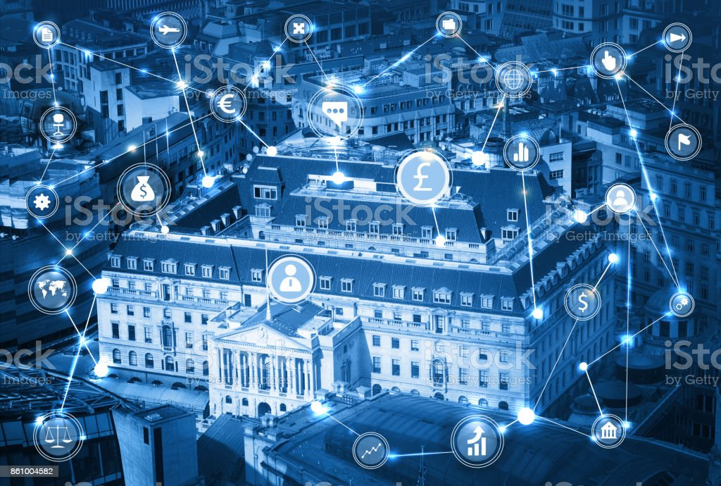 Bank of England in the City of London and business network connections concept illustration with lots of business icons. Technology, transformation and innovation idea. stock photo