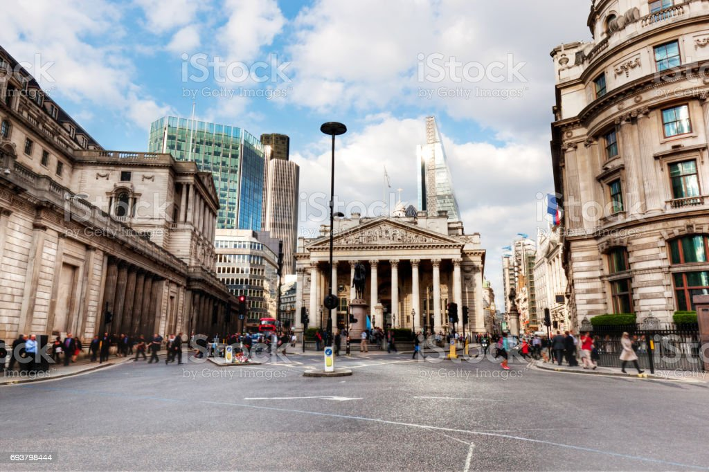 Bank of England, the Royal Exchange in London, the UK. stock photo