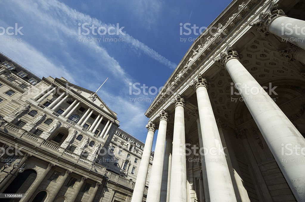Bank of England with Columns and Blue Sky stock photo