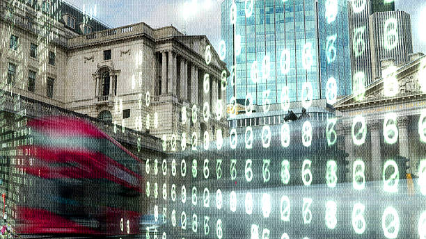 Bank of England with electronic numbers. stock photo