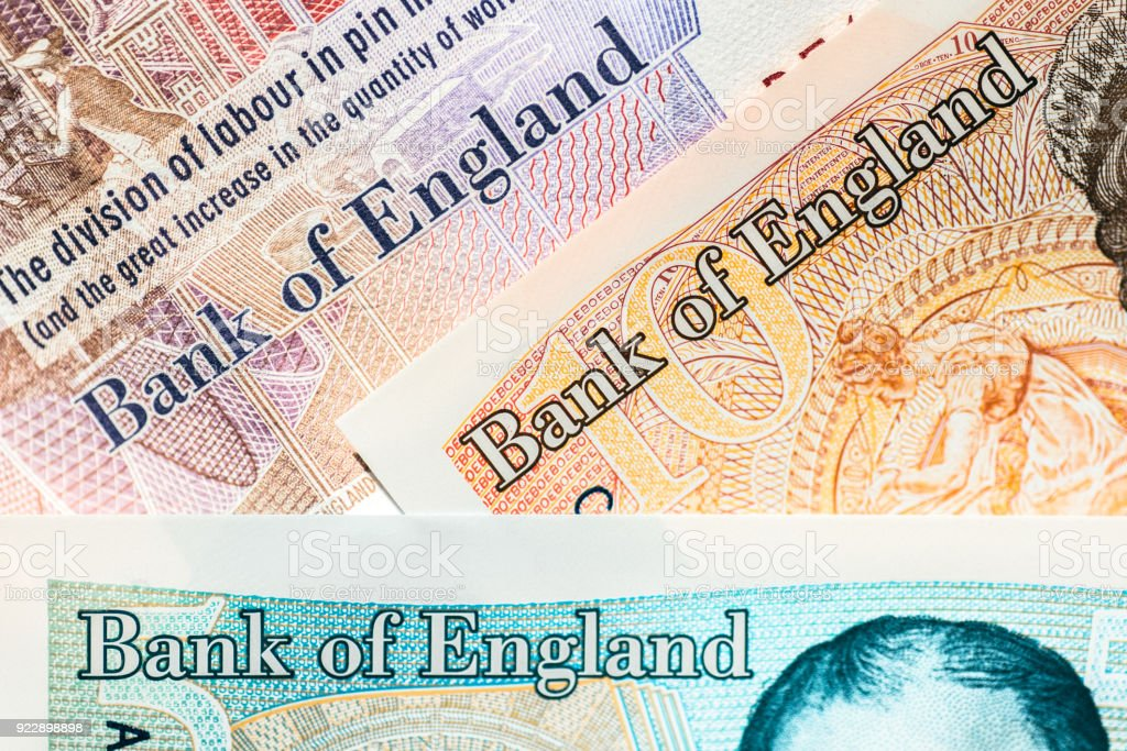 Bank of England written on GBP bills stock photo