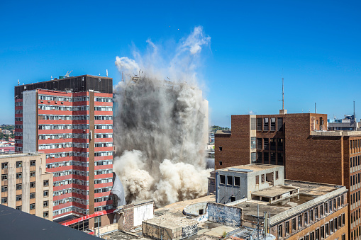 Bank of Lisbon building being demolished in Johannesburg city centre, where firefighters fought to contain the fire for four days, and three firefighters lost their lives in the process, the structure was badly damaged. (3 of 5 pictures)