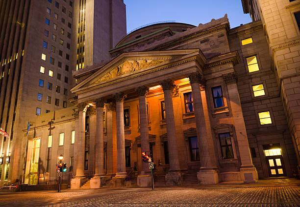 Bank of Montreal at Place d'Armes in Quebec stock photo