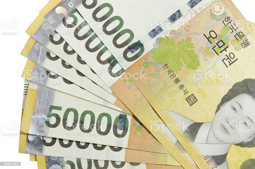 Bank of South Korea 50000 won stock photo