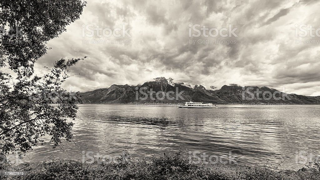 Bank of the Geneva lake with steam boat, Montreux royalty-free stock photo