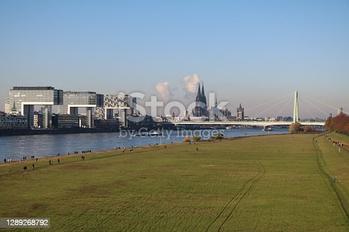 istock Bank of the Rhine in Cologne Poll, Germany 1289268792