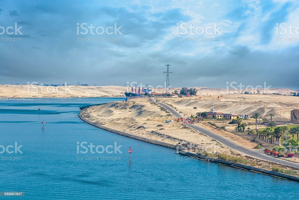 Bank of the Suez Canal stock photo