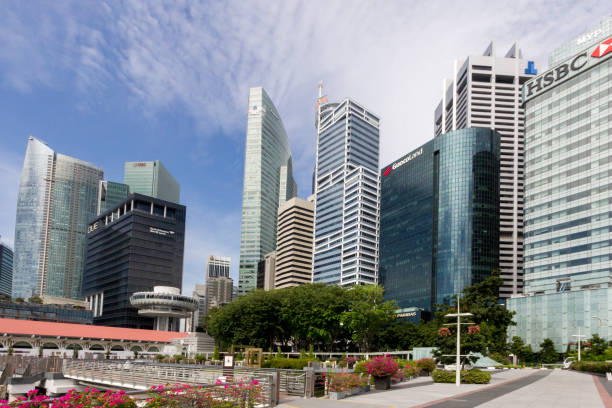 Bank offices buildings in Singapore taken from COllyer Quay stock photo