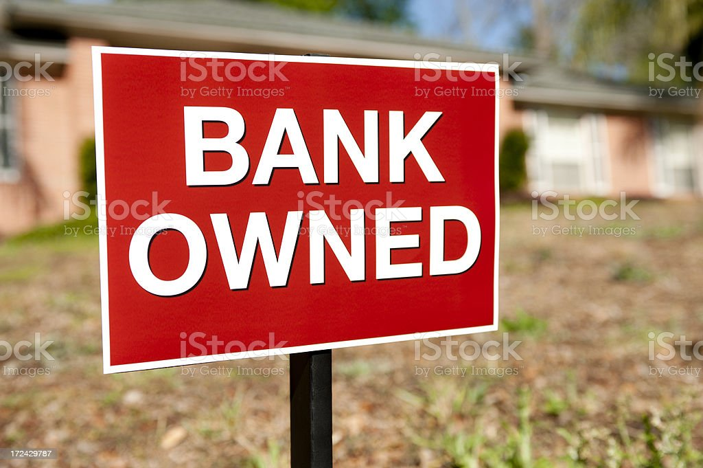 Bank Owned Sign stock photo