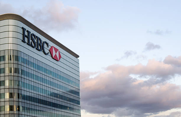 hsbc bank - canary wharf stock-fotos und bilder