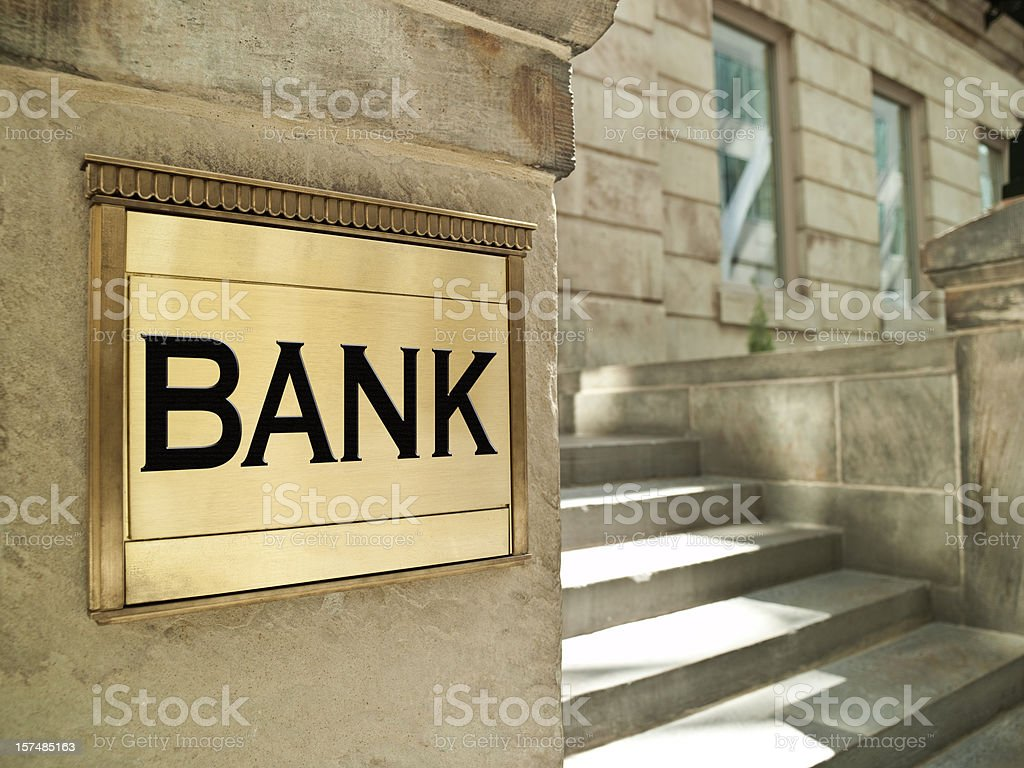 Bank plaque on an important finance building royalty-free stock photo