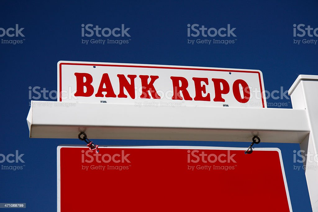 Bank repo against blue sky royalty-free stock photo