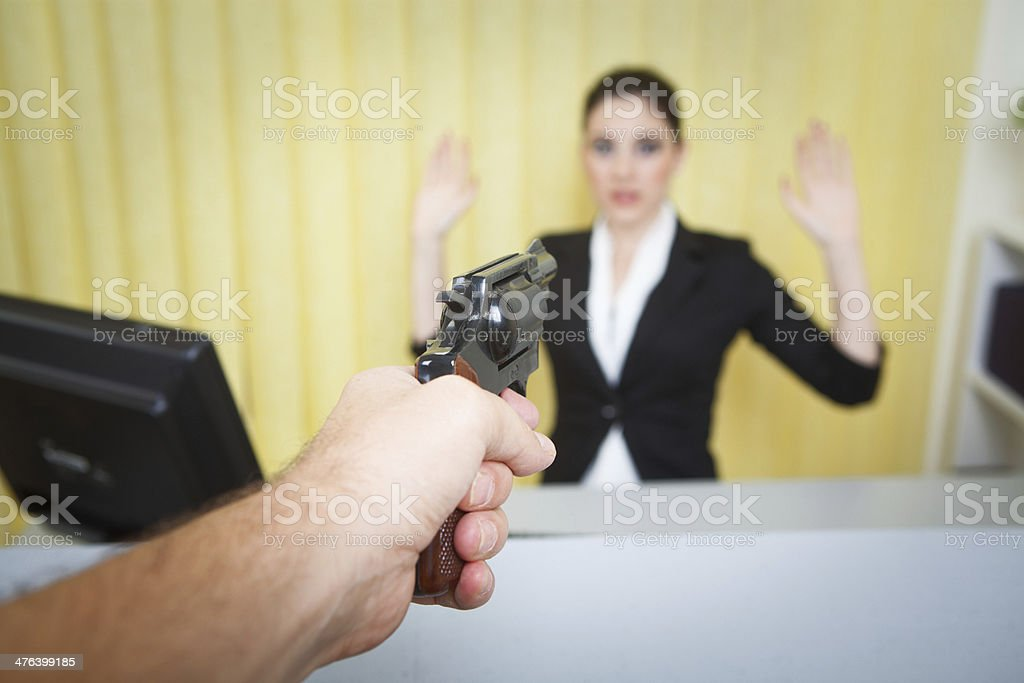 Bank Robber in Action stock photo