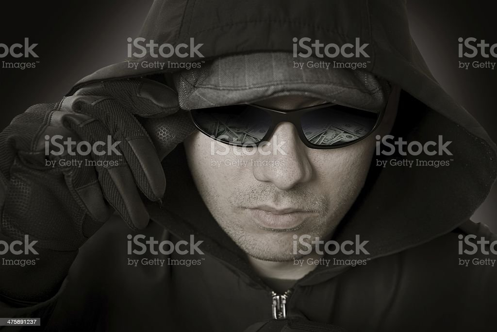 Bank Robber in Glasses stock photo