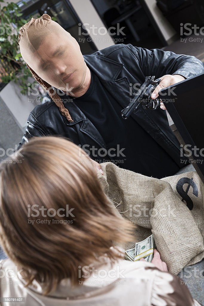 Bank robbery in progress stock photo