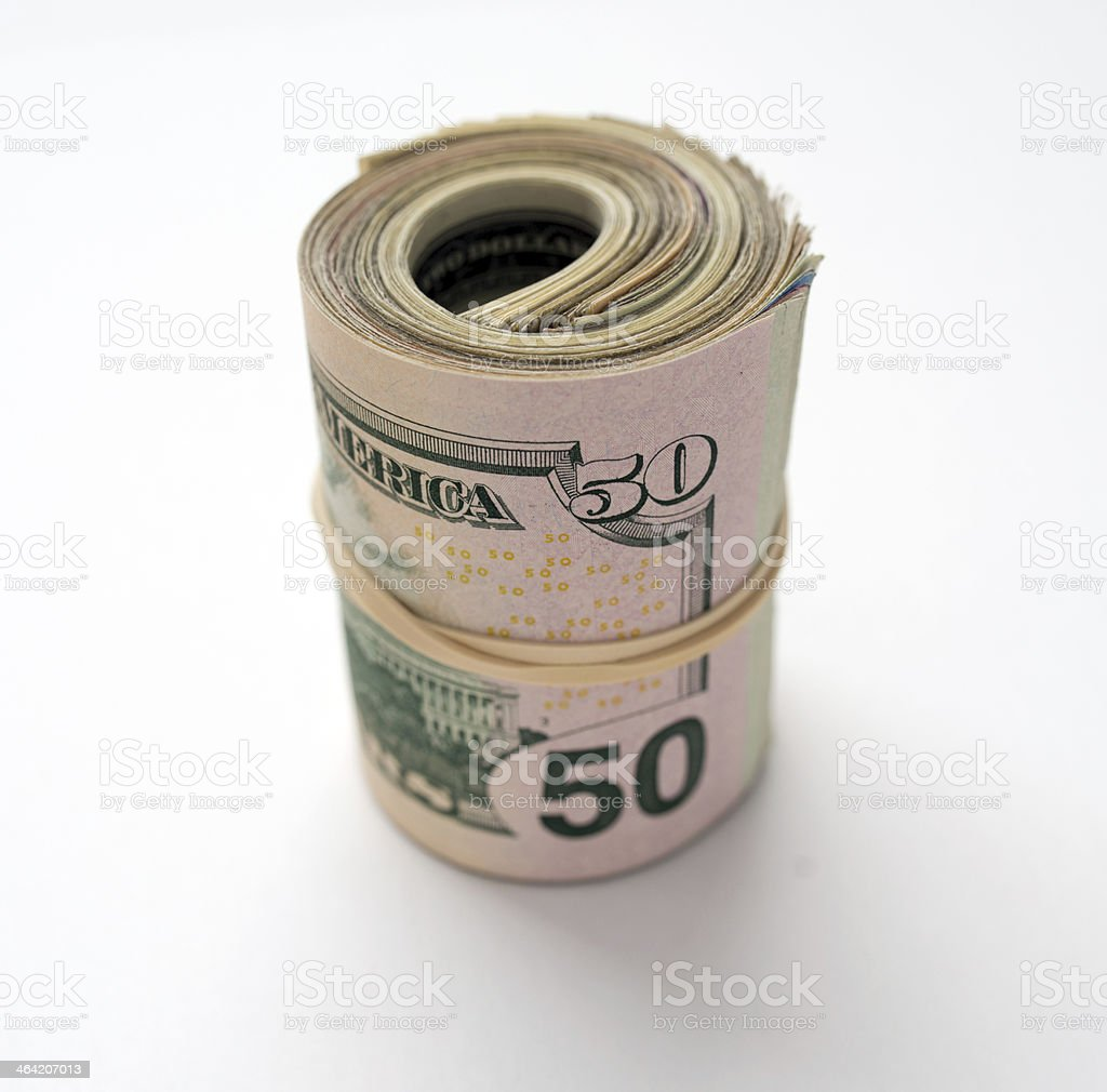 Bank Roll of US Cash stock photo