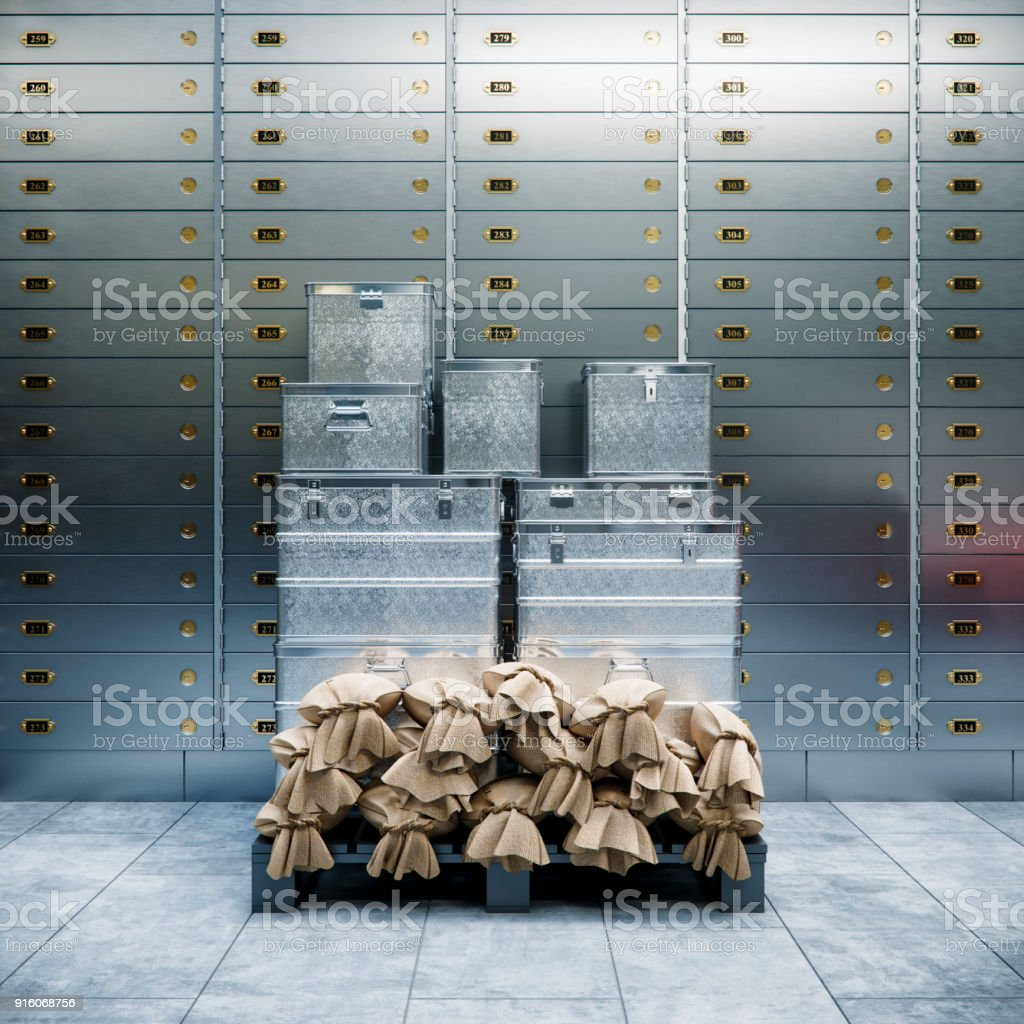 bank safe and boxes with gold 3d illustration стоковое фото
