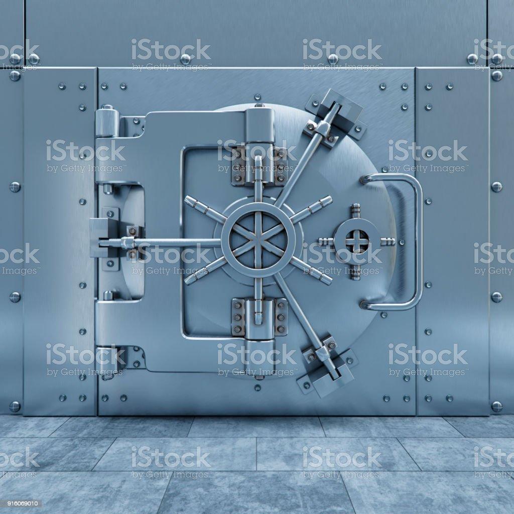 bank safe door on the steel wall 3d illlustration стоковое фото