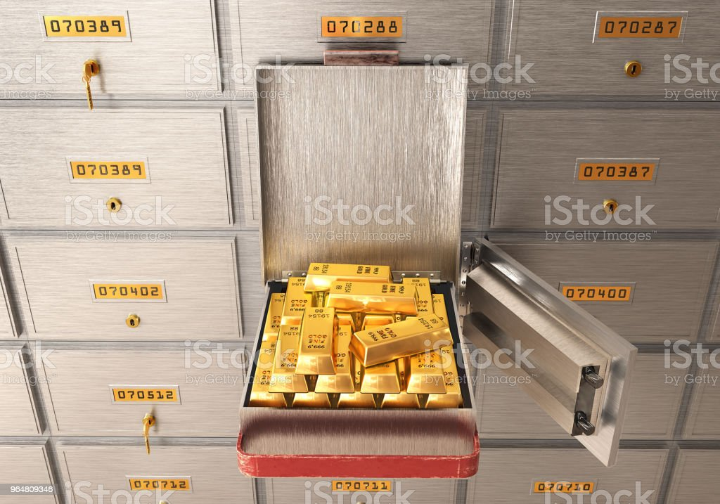 bank safe open cell with gold isolated 3d illustration стоковое фото
