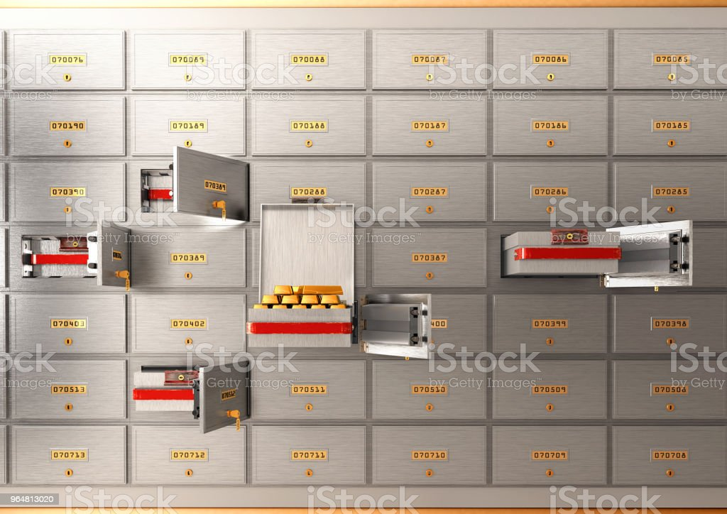 Bank safe open cell with gold isolated 3d illustration royalty-free stock photo