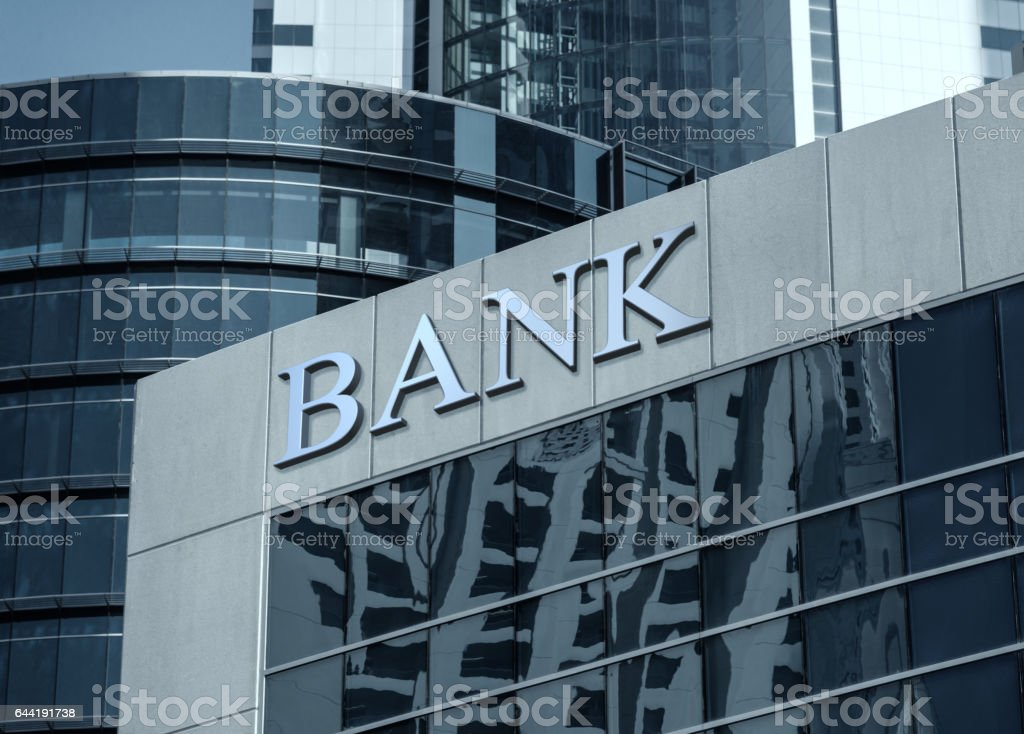 Bank sign stock photo