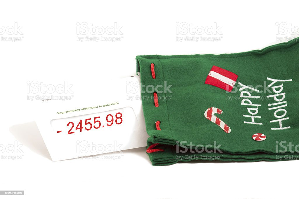 bank statement notice for the holidays stock photo