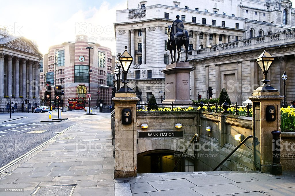 Bank station entrance in London stock photo