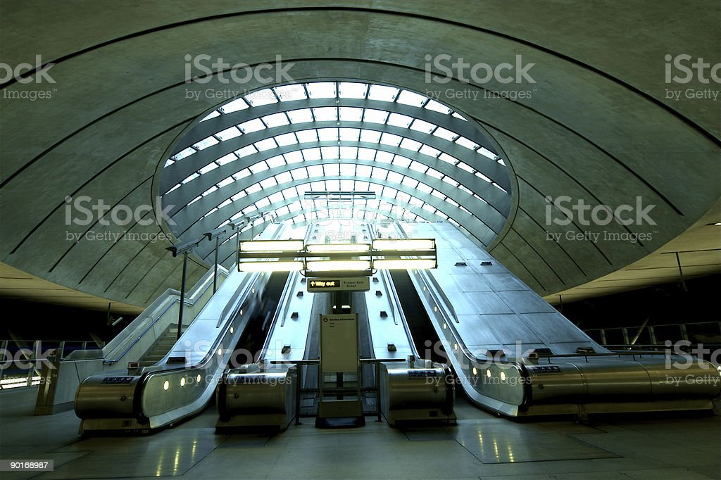 Bank Street Exit at Canary Wharf Station stock photo