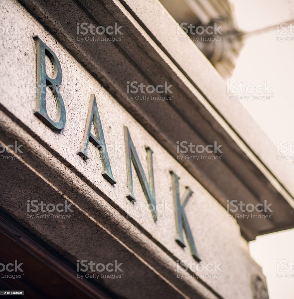 Bank - traditional exterior sign stock photo