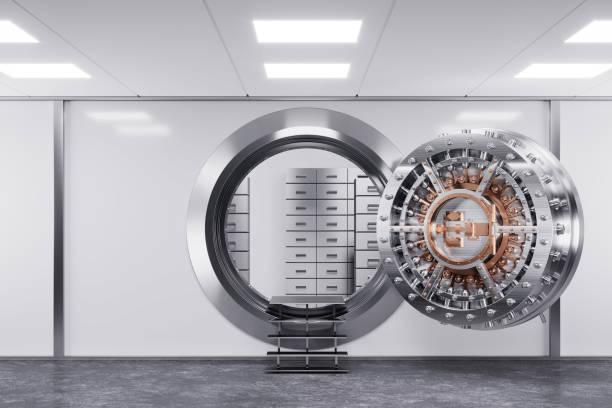 bank tresortür in prämisse bank. das sicherheitskonzept. - safe stock-fotos und bilder