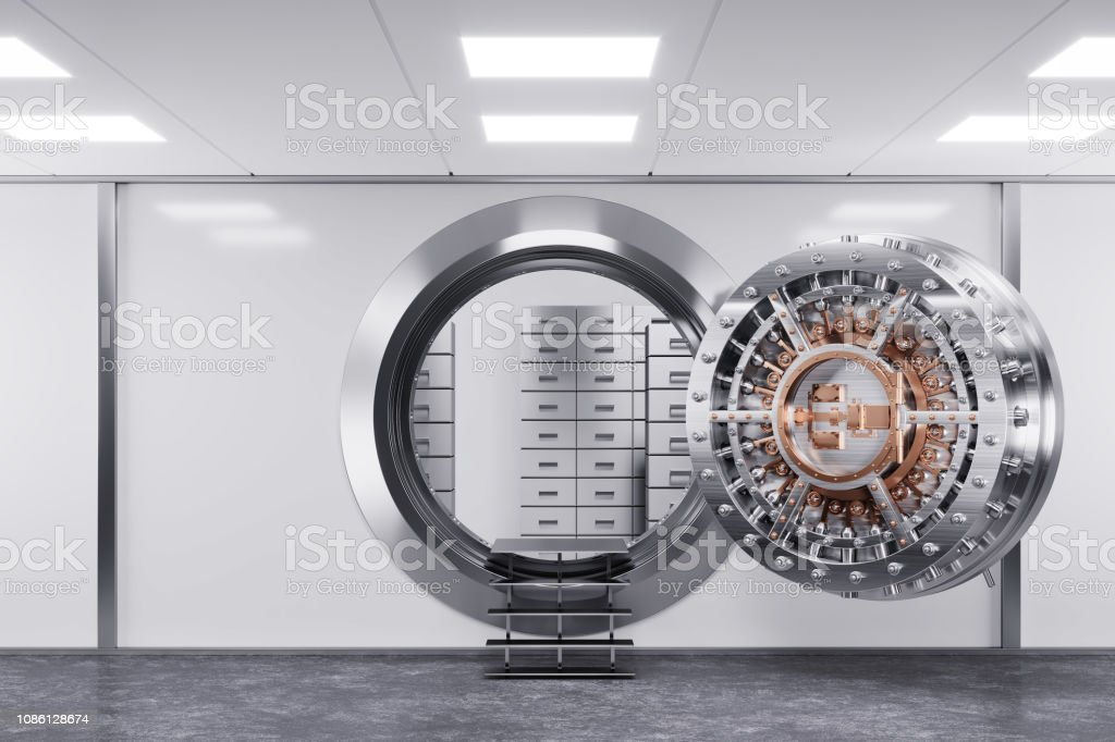 Bank vault door in premise bank. Safety concept. стоковое фото