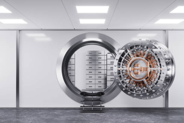 Bank vault door in premise bank. Safety concept. Bank vault door in premise bank. Safety concept. 3d render safe security equipment stock pictures, royalty-free photos & images