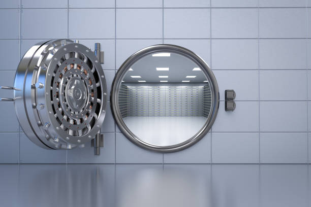 bank vault opened 3d rendering bank vault opened with deposit boxes inside safe security equipment stock pictures, royalty-free photos & images
