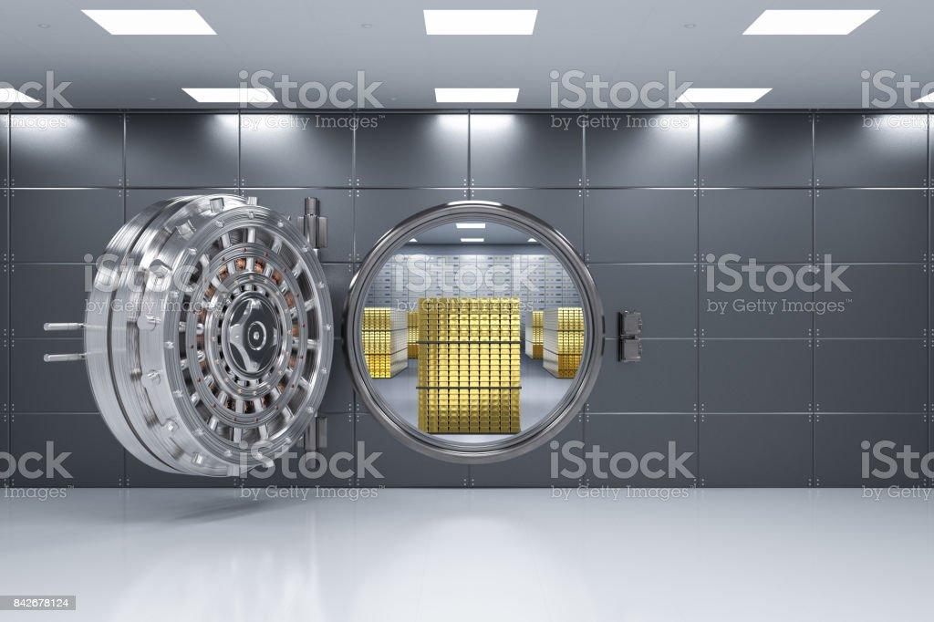 bank vault opened stock photo