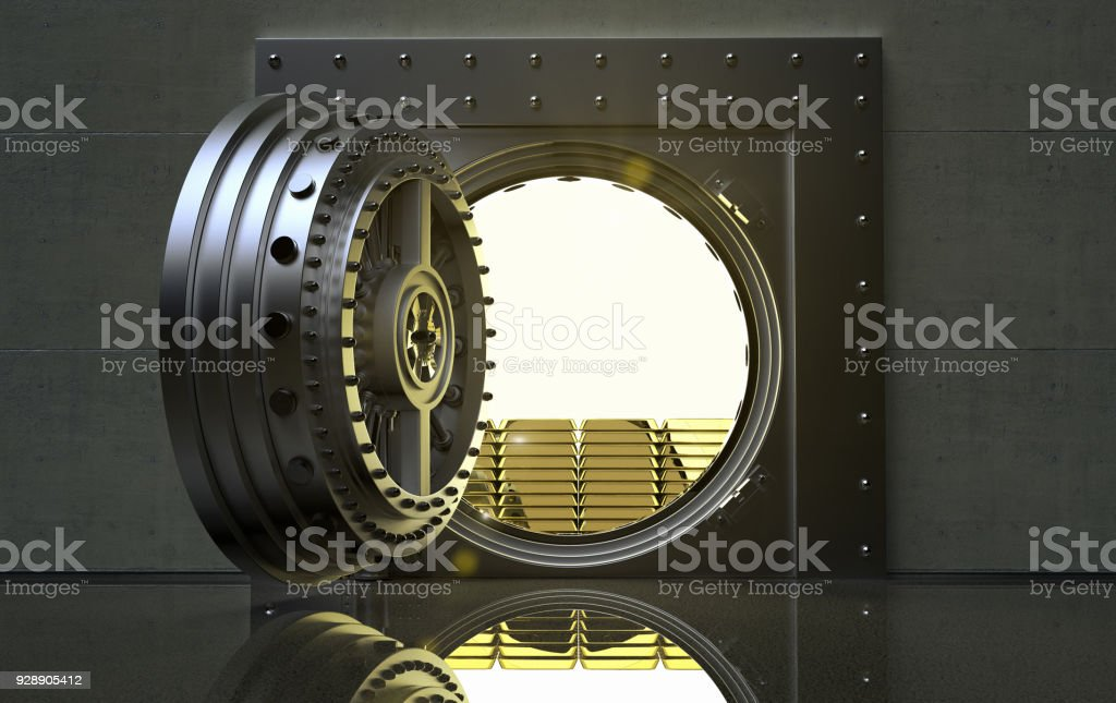 bank Vault with gold bars inside stock photo