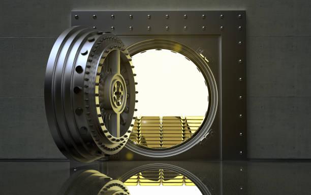 tresor mit goldbarren in bank - safe stock-fotos und bilder
