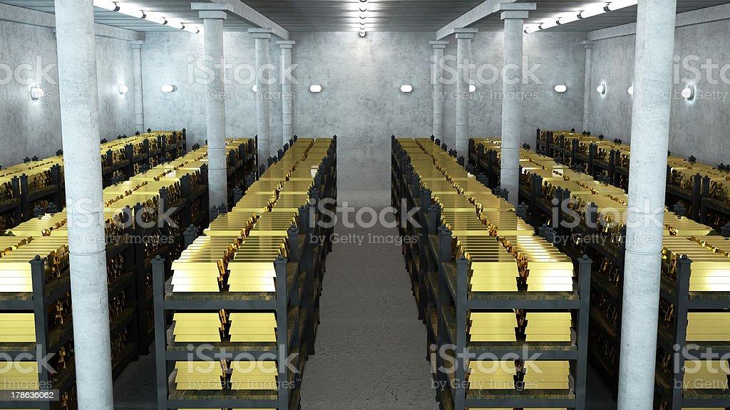 Cofre de banco com barras de ouro - foto de acervo