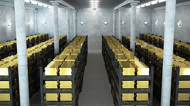 bank Gewölbe mit gold bars – Foto
