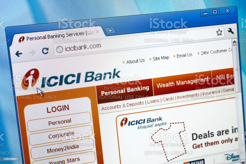 ICICI Bank webpage on the browser