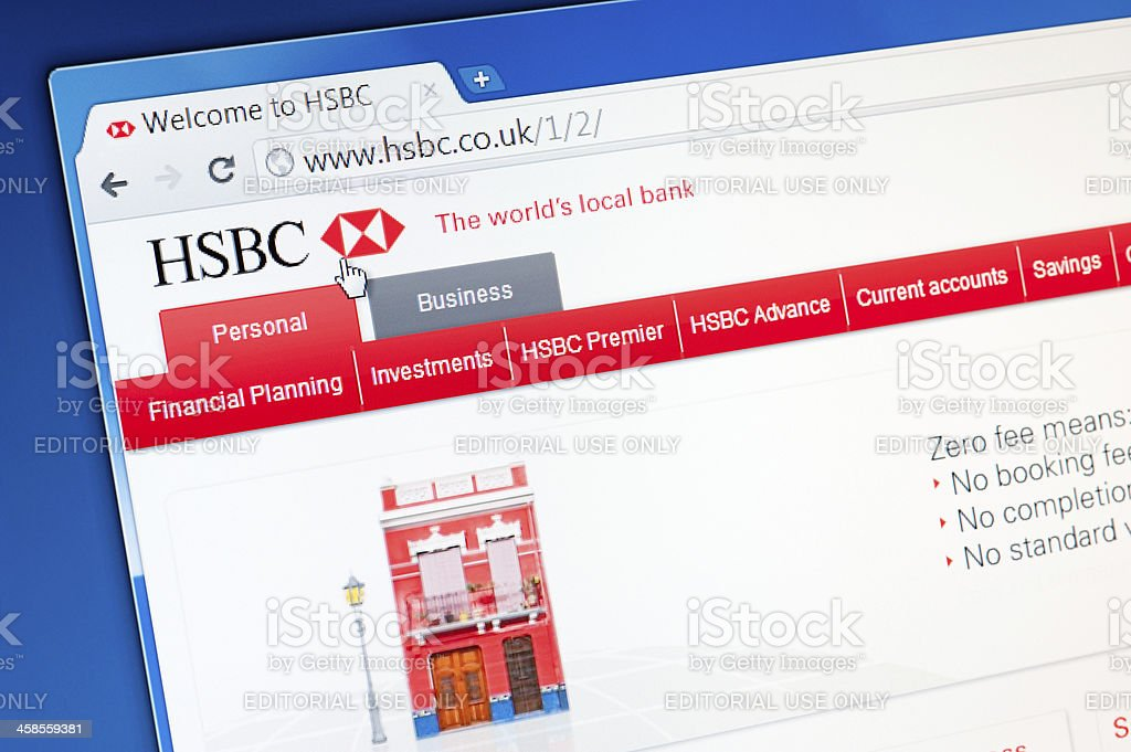 Hsbc Bank Webpage On The Browser Stock Photo - Download Image Now