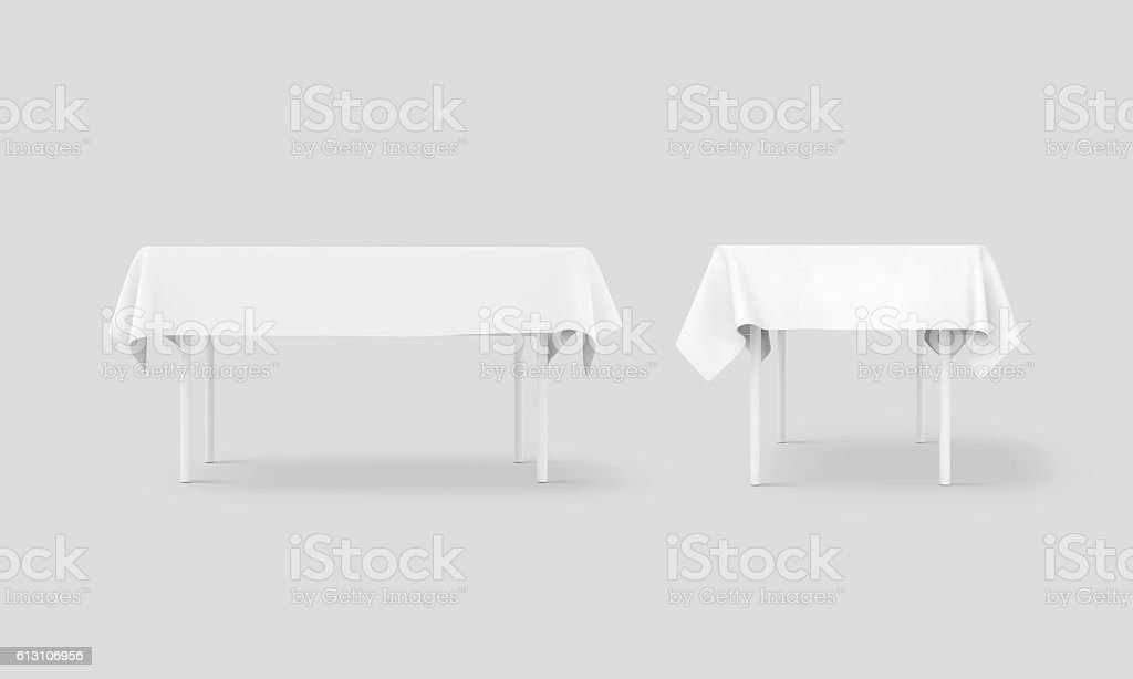 Bank white table cloth mock up set, clipping path stock photo