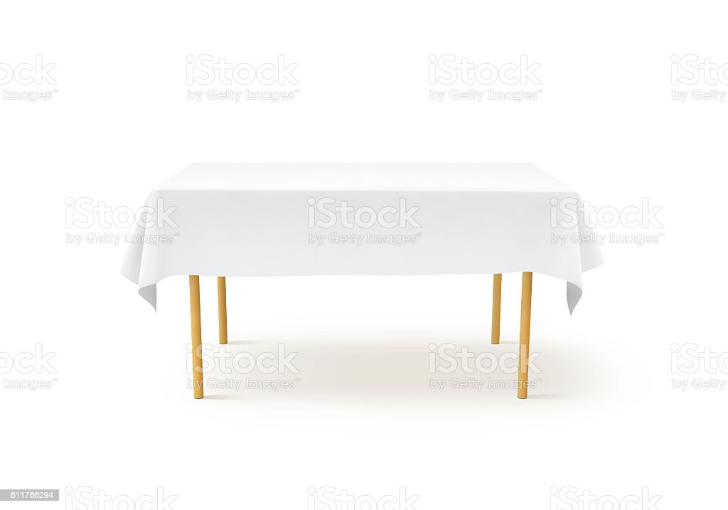 Bank white tablecloth mockup, clipping path, stock photo