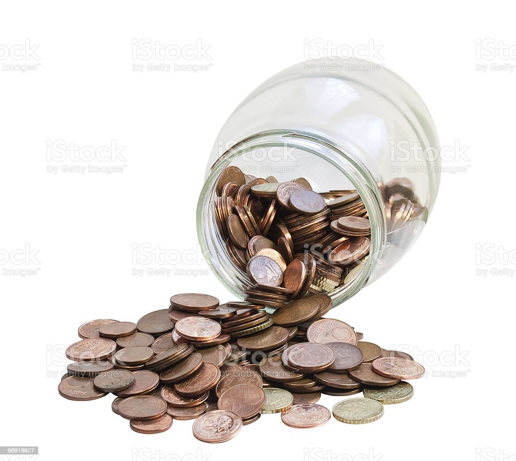 Bank with coins. royalty-free stock photo