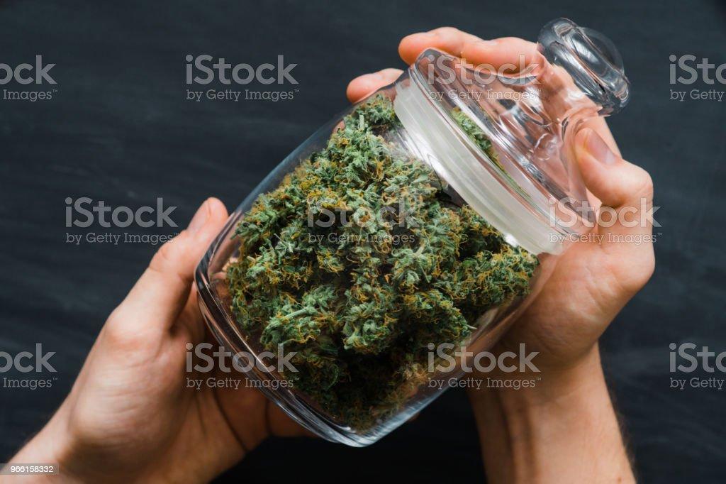 Eine Bank mit frischen Knospen von Cannabis in den Händen eines Mannes. Eine Menge von Marihuana. Konzepte der Legalisierung von Unkraut. Ansicht von oben. Hautnah. - Lizenzfrei Blatt - Pflanzenbestandteile Stock-Foto