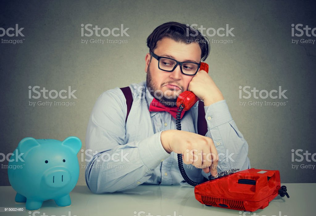 Bank worker having phone call royalty-free stock photo