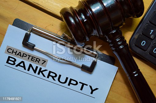 Bankcrupty Chapter 7 text on Document form and Gavel isolated on office desk.