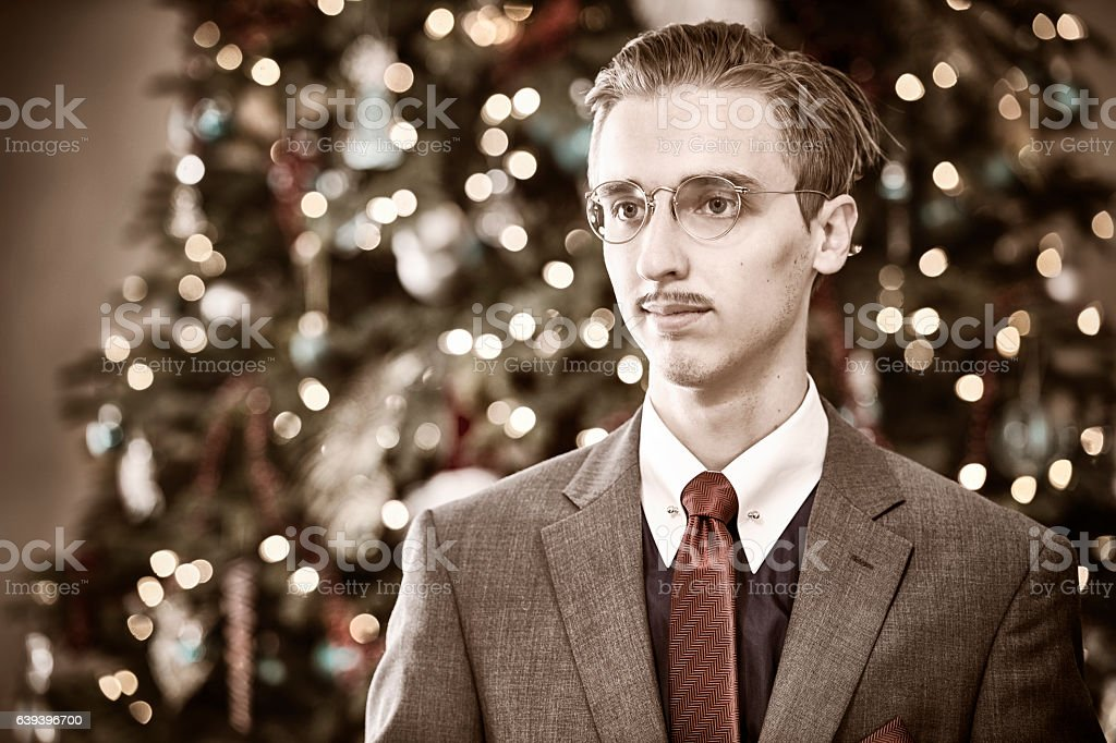 Banker from 1940's Christmas Portrait stock photo